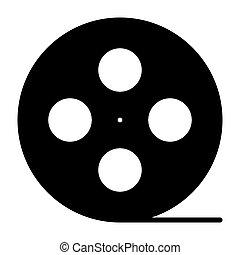 Film reel silhouette icon. Cinema production symbol. Vector illustration