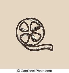 Film reel sketch icon. - Film reel vector sketch icon...