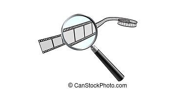 Film Reel under Magnifying Glass