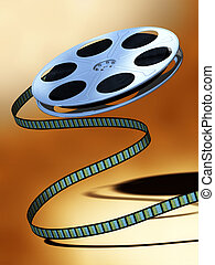 Film reel - Unwinding film reel over a warm background....