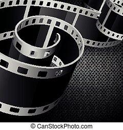 film reel - vector film reel on dark carbon background