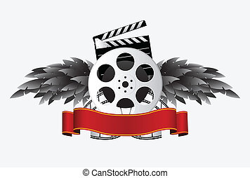 film reel with banner & wing  - film reel with banner & wing