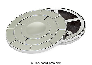 film reel with can, 3D rendering