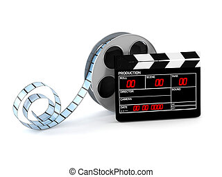 Film reel with film slate isolated on white background