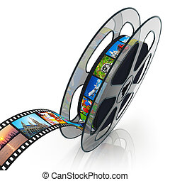 Film reel with filmstrip with colorful pictures isolated on...