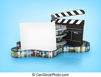 Film Reels and Clapper board and cardboard