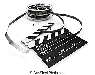 Film reels and clapper board - 3D render of film reels and a...