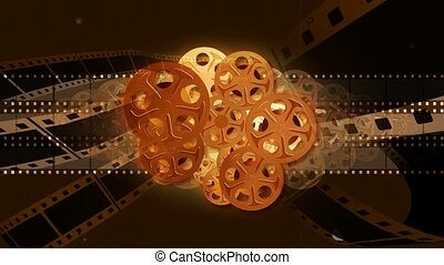 Film reels with film strips