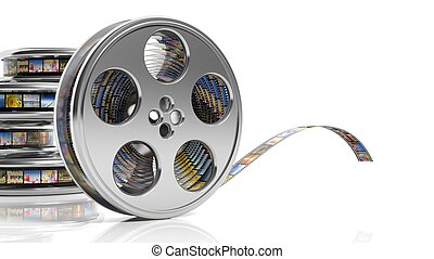 Film reels with pictures isolated on white background