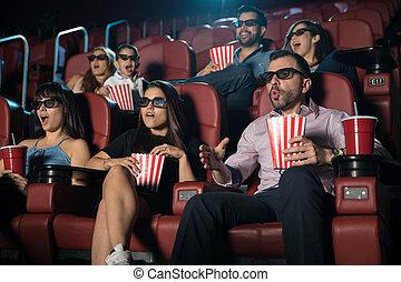 film, regarder, surpris, foule, 3d