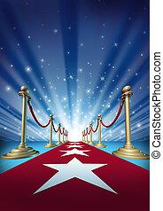 film, rood, sterretjes, tapijt