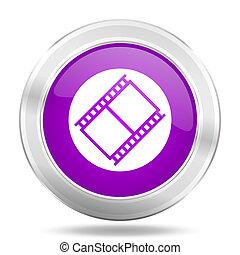 film round glossy pink silver metallic icon, modern design web element