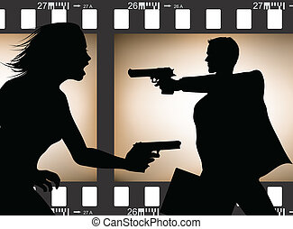 Film scene silhouette
