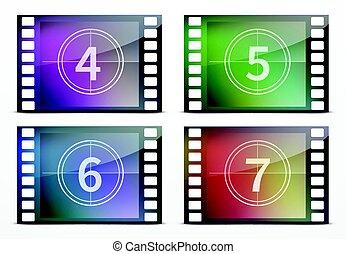Film screen countdown - Vector illustration of film screen...