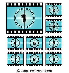 Film Screen Countdown Numbers. Vector Movie Illustration