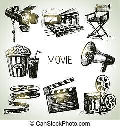 film, set., hand, weinlese, illustrationen, gezeichnet, film