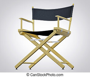 film, set., isolé, directeur, studio, chair., hollywood, pellicule, 3d