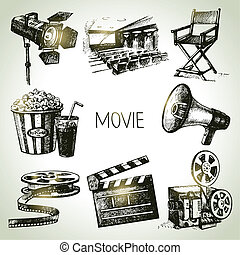 film, set., kéz, szüret, ábra, húzott, film