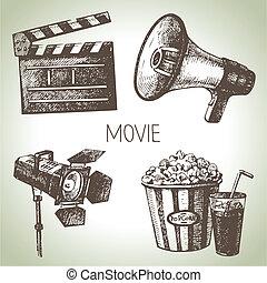 film, set., mano, vendemmia, illustrazioni, disegnato, film