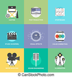 Flat icons set of professional film production, movie shooting, studio showreel, actors casting, storyboard writing, visual effects, post production and sound engineering. Flat design style modern vector illustration concept.
