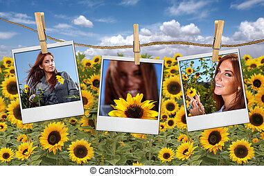 Film Shots Hanging in a Field of a Beautiful Red Head Woman...