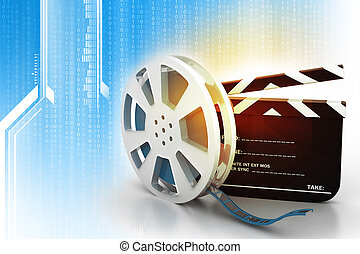 film slate and movie reel on tech background