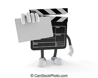 Film slate character holding blank business card