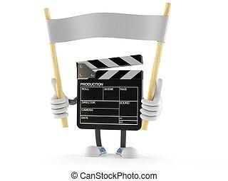 Film slate character holding blank banner