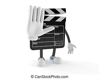 Film slate character isolated on white background