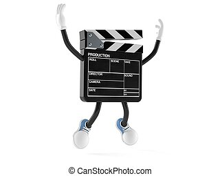 Film slate character jumping on white background