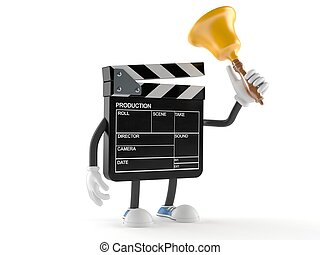 Film slate character ringing a handbell isolated on white ...