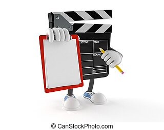 Film slate character with blank clipboard