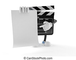 Film slate character with blank sheet of paper