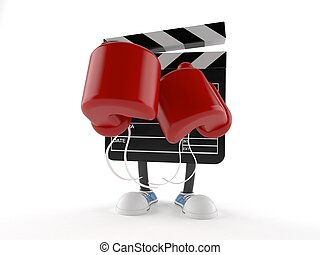 Film slate character with boxing gloves isolated on white ...