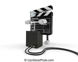 Film slate character with detonator isolated on white ...