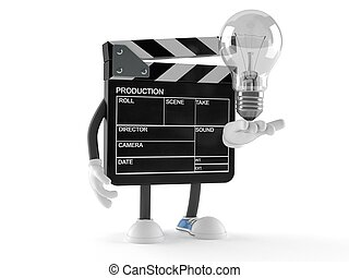 Film slate character with lightbulb isolated on white ...
