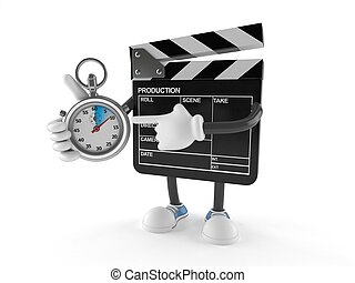 Film slate character with stopwatch isolated on white ...