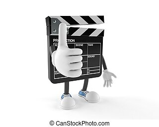 Film slate character with thumbs up isolated on white ...