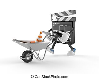Film slate character with wheelbarrow isolated on white ...