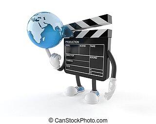 Film slate character with world globe