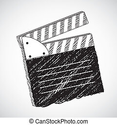 Film Slate illustration isolated on gray background, vector ...