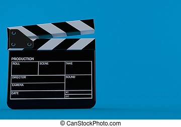 Film slate isolated on blue background. 3d illustration