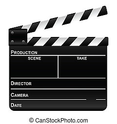 film slate - Movie clapper board on a white background. ...