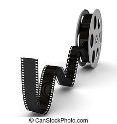 Film Slate with Movie Film Reel. 3d rendered image