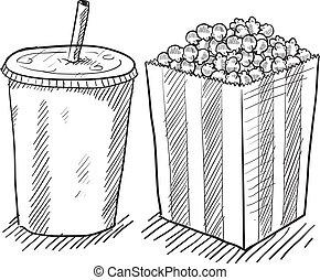 film, soda, popcorn, schets
