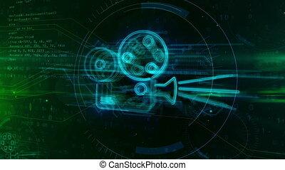 film, speler, met, projector, hologram, concept