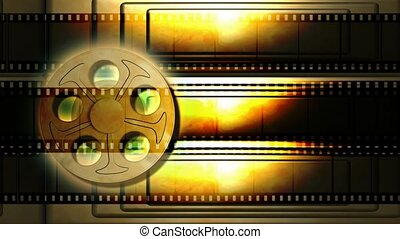 film spoel, met, gouden staaf, achtergrond