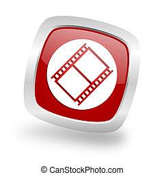 film square red glossy chrome silver metallic web icon