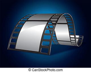 film strimmel, på, blå baggrund