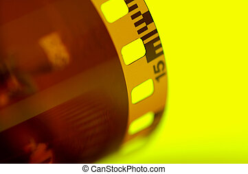 Film Strip on Yellow Background.